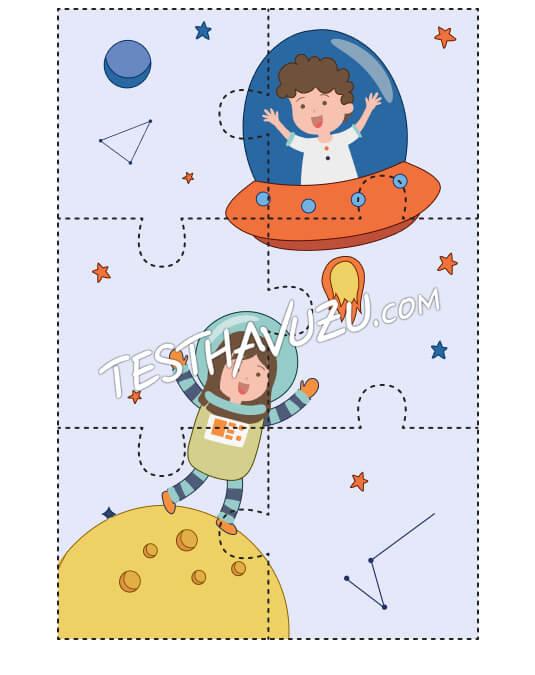 Yapboz Çalışması - Küçük Astronotlar