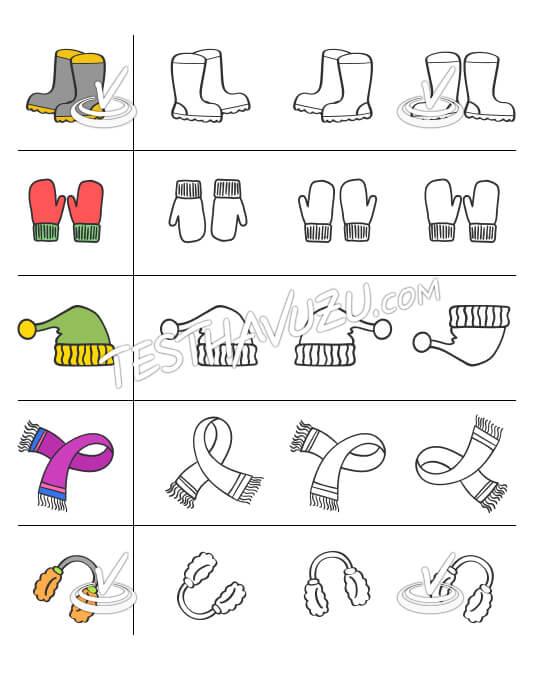 Eşleştirme - Kışlık Kıyafetler